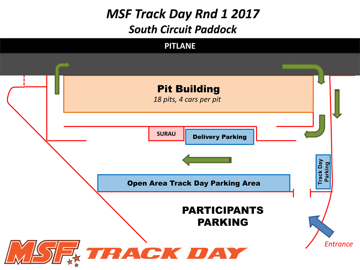 MSF Track Day Paddock Layout & Traffic Flow