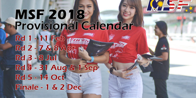 MSF 2018 Provisional Calendar