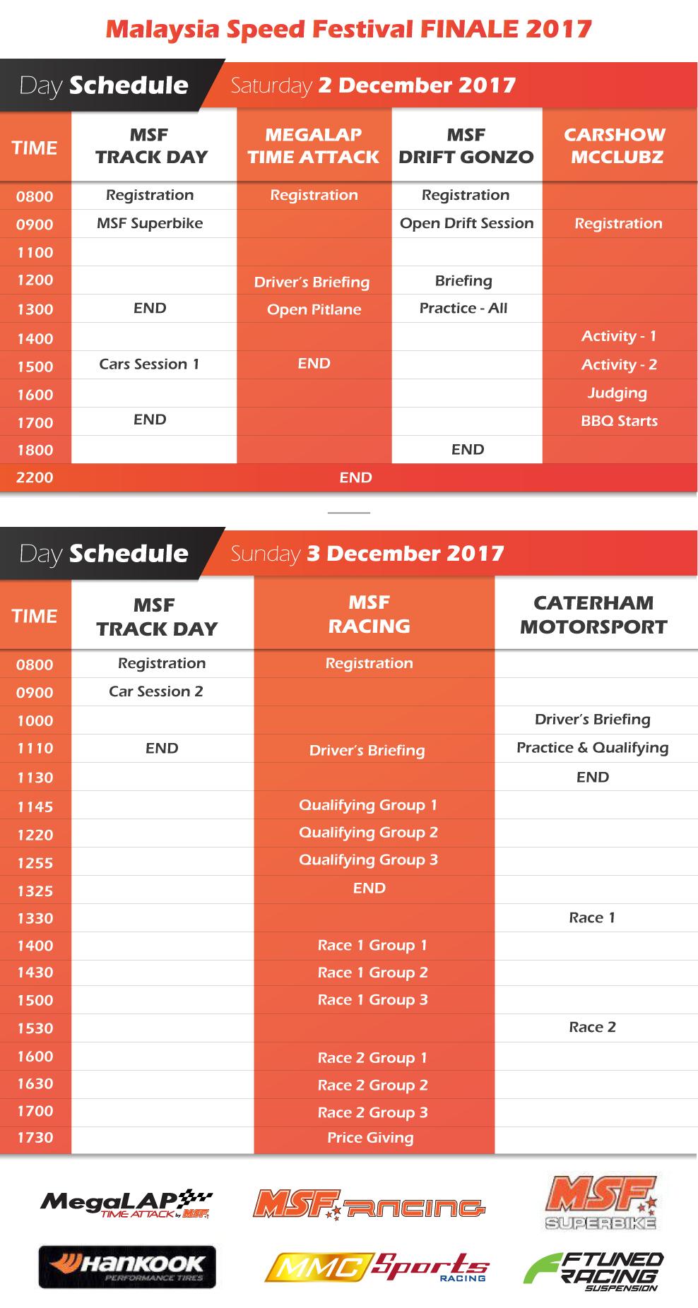 event schedule msf racing series