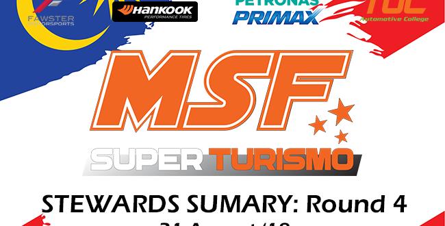 MSF Superturismo Steward Summary 2018 – Round 4