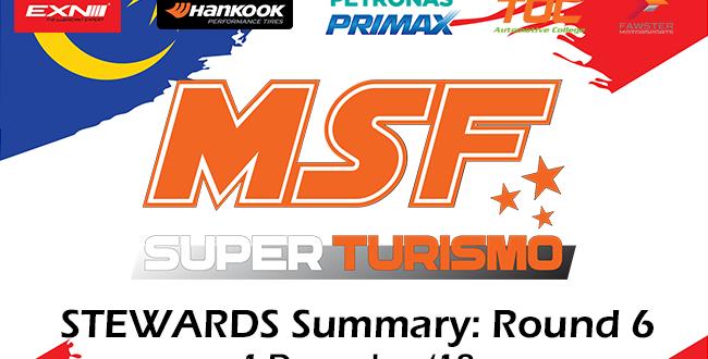 MSF Superturismo Steward Summary- Round 6