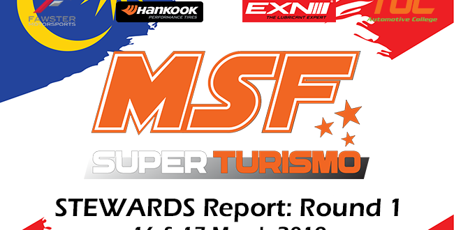 MSF Superturismo Steward Summary 2019- Round 1
