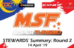 MSF Superturismo Steward Summary 2019- Round 2