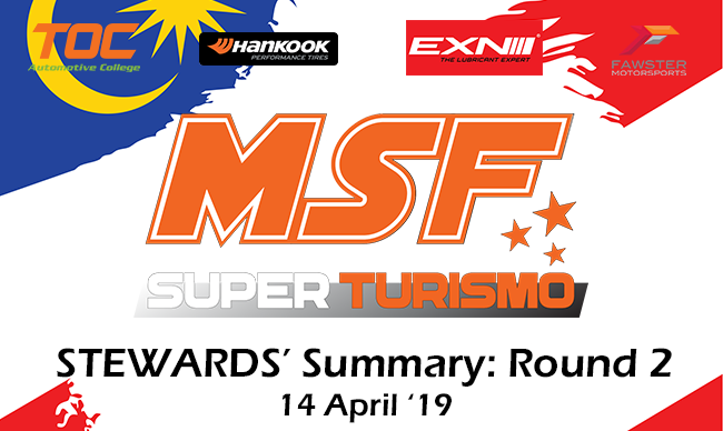 MSF Superturismo Steward Summary 2019- Round 2