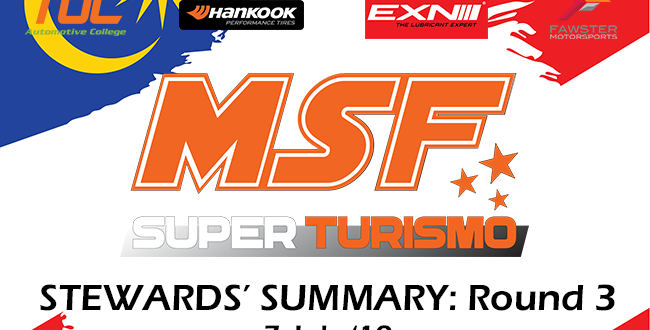 Steward Summary MSF Superturismo Round 3