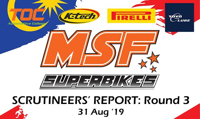 Scrutineering Report MSF Superbike Enduro Round 3- 2019