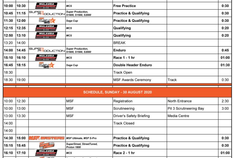 Merdeka Race 2020 – Event Schedule